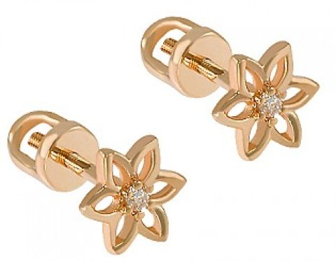 Серьги-гвоздики с кристаллом - цвет золото